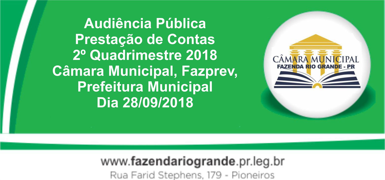 Audiência Pública Prestação de Contas 2° Quadrimestre 2018