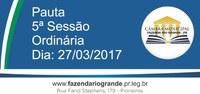 Pauta da 5ª Sessão Ordinária 27/03/2017