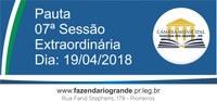 Pauta da 07ª Sessão Extraordinária 19/04/2018
