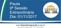 Pauta da 09ª Sessão Extraordinária 01/11/2017