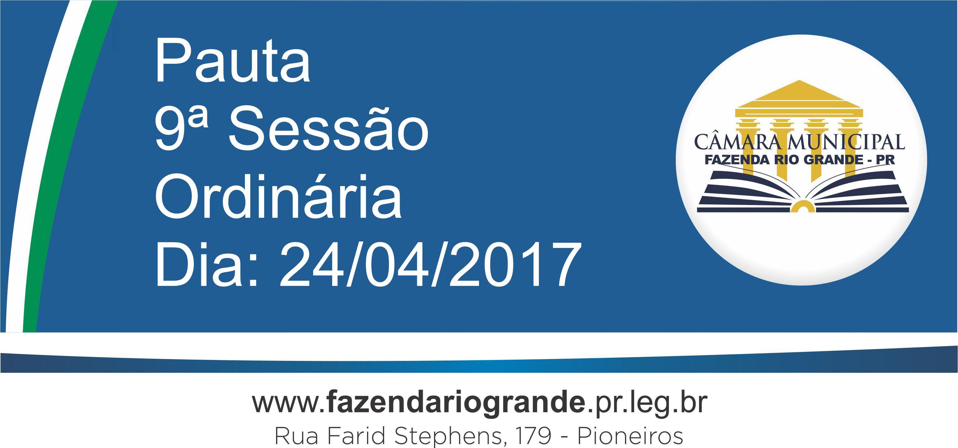 Pauta da 9ª Sessão Ordinária 24/04/2017