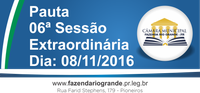 Pauta da 6ª Sessão Extraordinária 08/11/2016