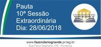 Pauta da 10ª Sessão Extraordinária 28/06/2018