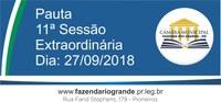 Pauta da 11ª Sessão Extraordinária 27/09/2018