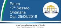 Pauta da 17ª Sessão Ordinária 25/06/2018