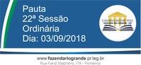 Pauta da 22ª Sessão Ordinária 03/09/2018