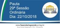 Pauta da 29ª Sessão Ordinária 22/10/2018