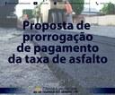 Proposta de prorrogação de pagamento de taxa de asfalto